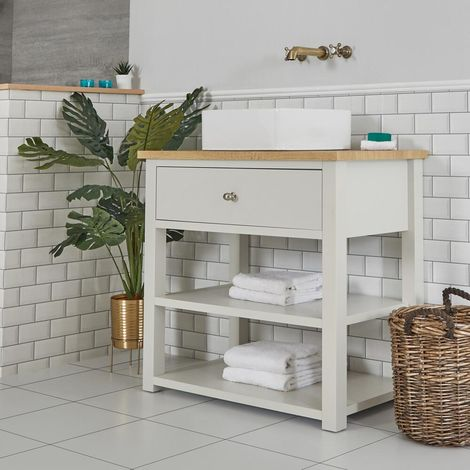 Milano Henley - Antique White and Oak 840mm Traditional Bathroom Cloakroom Vanity Unit with Square Countertop Basin