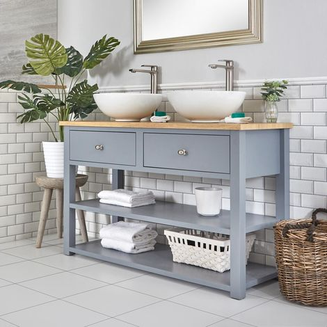 Milano Henley - Light Grey and Oak 1240mm Traditional Bathroom Cloakroom Vanity Unit with Two Round Countertop Basins