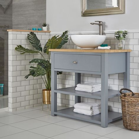 Milano Henley - Light Grey and Oak 840mm Traditional Bathroom Cloakroom Vanity Unit with Round Countertop Basin