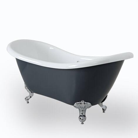 Milano Hest - Stone Grey Modern Bathroom Double Ended Freestanding Slipper Bath - 1750mm x 730mm