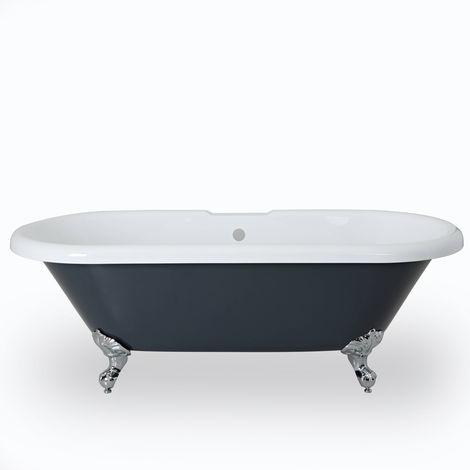 Milano Hest - Stone Grey Modern Bathroom Double Ended Freestanding Slipper Bath - 1795mm x 785mm