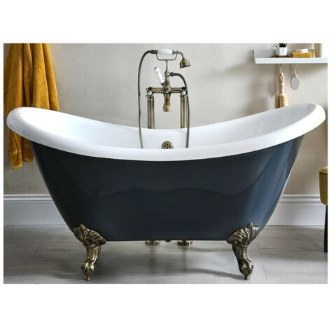 Milano Hest - Stone Grey Traditional Bathroom Double Ended Freestanding Slipper Bath with Brushed Gold Feet - 1750mm x 730mm
