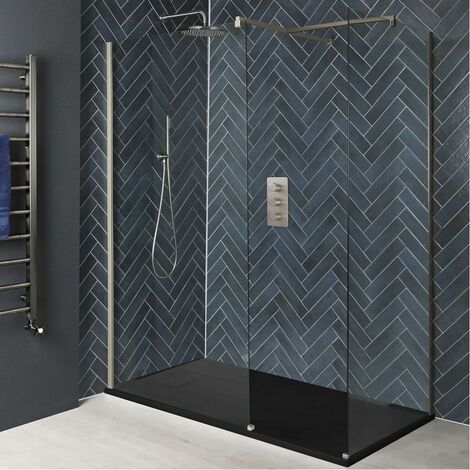 Milano Hunston - Corner Walk In Wet Room Shower Enclosure with Screens Support Arms and Graphite Slate Effect Tray - Brushed Nickel