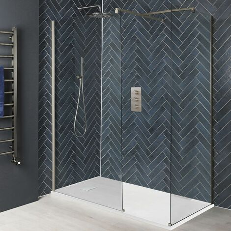 Milano Hunston - Corner Walk In Wet Room Shower Enclosure with Screens Support Arms and White Slate Effect Tray - Brushed Nickel