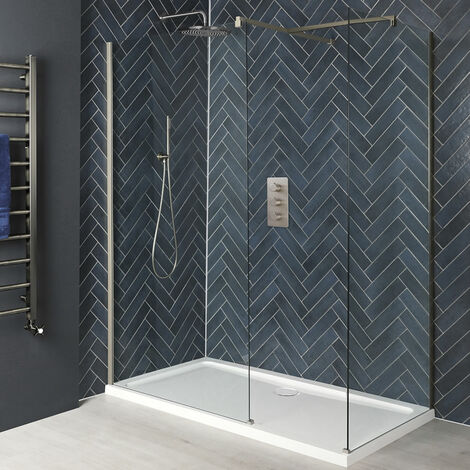Milano Hunston - Corner Walk In Wet Room Shower Enclosure with Screens  Support Arms and White Tray - Brushed Nickel
