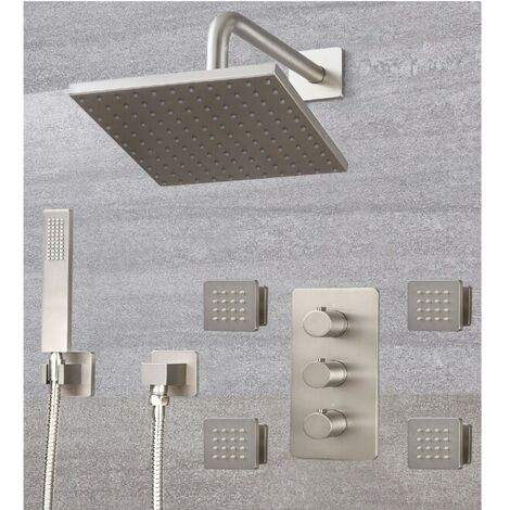"""main image of """"Milano Hunston - Modern 3 Outlet Triple Diverter Thermostatic Mixer Shower Valve with Wall Mounted 200mm Square Rainfall Shower Head, Hand Shower Handset Kit and Body Jets – Brushed Nickel"""""""