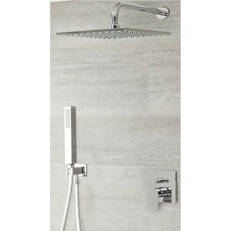 """main image of """"Milano Hunston - Modern Chrome Manual Diverter Mixer Shower Valve with 300mm Square Rainfall Shower Head and Hand Shower Handset"""""""