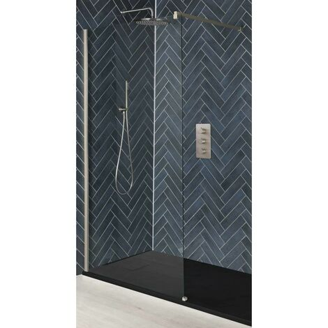 Milano Hunston - Recessed Walk In Wet Room Shower Enclosure with Screen  Support Arm and Graphite Slate Effect Tray - Brushed Nickel