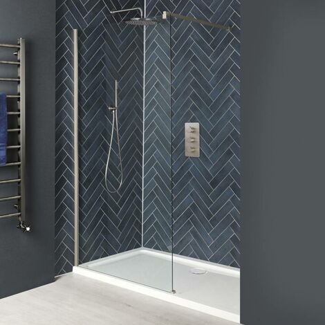 Milano Hunston - Recessed Walk In Wet Room Shower Enclosure with Screen  Support Arm and White Tray - Brushed Nickel