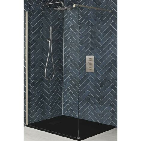 Milano Hunston - Walk In Wet Room Shower Enclosure with Screen  Support Arm and Graphite Slate Effect Tray - Brushed Nickel