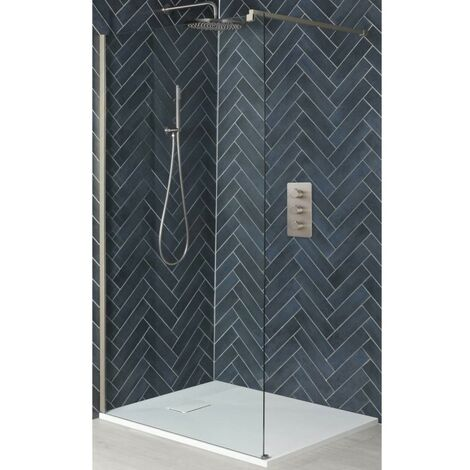 Milano Hunston - Walk In Wet Room Shower Enclosure with Screen  Support Arm and White Slate Effect Tray - Brushed Nickel