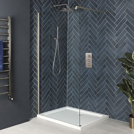 Milano Hunston - Walk In Wet Room Shower Enclosure with Screen  Support Arm and White Tray - Brushed Nickel