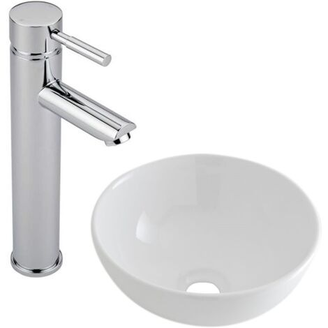 Milano Irwell - Modern White Ceramic 280mm Round Countertop Bathroom Basin Sink and High Rise Mono Basin Mixer Tap