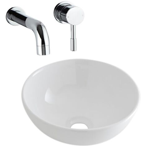 Milano Irwell - Modern White Ceramic 320mm Round Countertop Bathroom Basin Sink and Wall Mounted Basin Mixer Tap