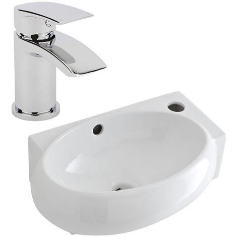 Milano Irwell - Modern White Ceramic 400mm x 280mm Wall Hung Corner Bathroom Basin Sink and Mono Basin Mixer Tap