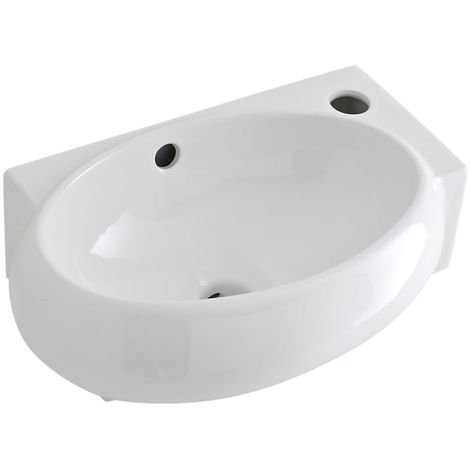 Milano Irwell - Modern White Ceramic Oval Wall Hung Corner Bathroom Basin Sink – 400mm x 280mm