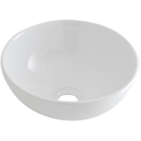 Milano Irwell - Modern White Ceramic Round Countertop Bathroom Basin Sink - 280mm