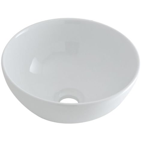 Milano Irwell - Modern White Ceramic Round Countertop Bathroom Basin Sink - 320mm
