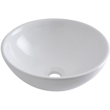 Milano Irwell - Modern White Ceramic Round Countertop Bathroom Basin Sink – 400mm