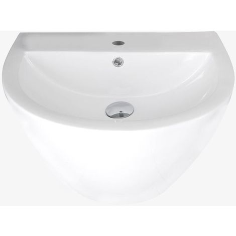 Milano Irwell - Modern White Ceramic Wall Hung Bathroom Basin Sink with One Tap Hole - 530mm x 440mm