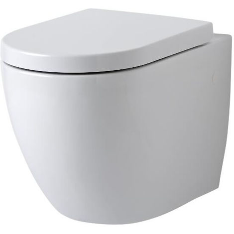 Milano Irwell - Round Wall-Hung White Ceramic Rimless Toilet - One-Piece Suspended WC and Soft Close Seat