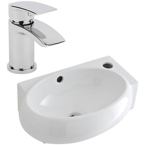 Milano Irwell - Wall Hung Counter Top White Ceramic Basin with Razor Mixer Sink Tap