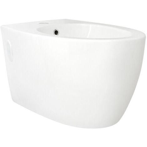 Milano Irwell - White Ceramic Modern Bathroom Wall Hung Bidet with One Tap Hole