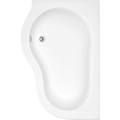 Milano Irwell - White Modern Bathroom Left Hand Corner Bath with Panel - 1500mm x 1000mm