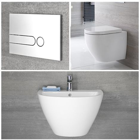 Milano Irwell - White Modern Wall Hung Bathroom Basin Sink and Toilet WC with Soft Close Seat, Cistern and Wall Frame