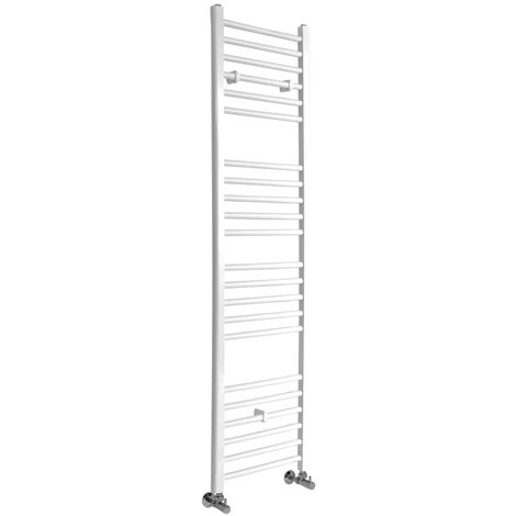 Milano Ive - 1600mm x 400mm Modern Flat Bar Heated Towel Rail Radiator – White