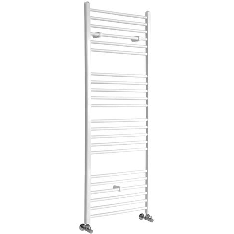 Milano Ive - 1600mm x 600mm Modern Flat Bar Heated Towel Rail Radiator – White