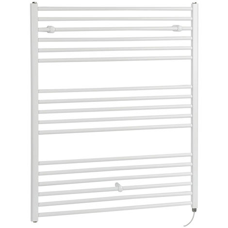 Milano Ive Electric - 1200mm x 1000mm Modern Flat Bar Heated Towel Rail Radiator – White