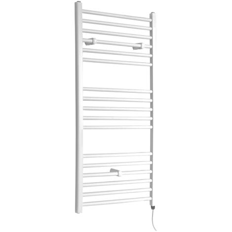Milano Ive Electric - 1200mm x 600mm Modern Flat Bar Heated Towel Rail Radiator – White