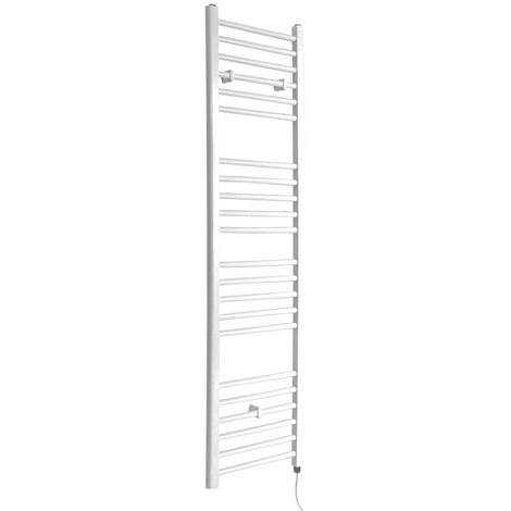 Milano Ive Electric - 1600mm x 400mm Modern Flat Bar Heated Towel Rail Radiator – White