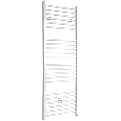 Milano Ive Electric - 1600mm x 600mm Modern Flat Bar Heated Towel Rail Radiator – White