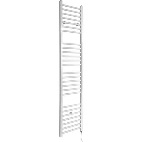 Milano Ive Electric - 1800mm x 400mm Modern Flat Bar Heated Towel Rail Radiator – White