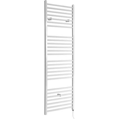 Milano Ive Electric - 1800mm x 600mm Modern Flat Bar Heated Towel Rail Radiator – White