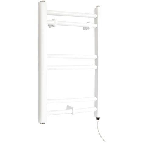 Milano Ive Electric - 600mm x 400mm Modern Flat Bar Heated Towel Rail Radiator – White