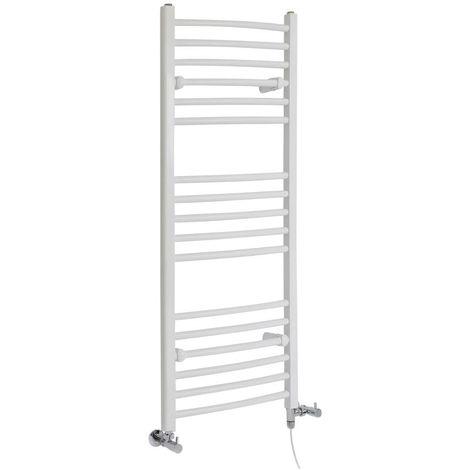Milano Ive - Modern White Dual Fuel Electric Curved Bar Heated Towel Rail Radiator - 1200mm x 498mm