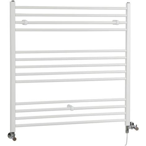 Milano Ive - Modern White Dual Fuel Electric Flat Bar Heated Towel Rail Radiator - 1000mm x 1000mm