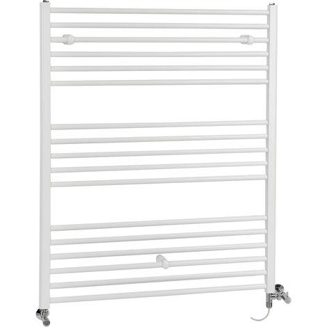 Milano Ive - Modern White Dual Fuel Electric Flat Bar Heated Towel Rail Radiator - 1200mm x 1000mm
