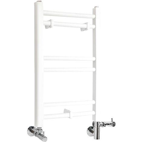 Milano Ive - Modern White Dual Fuel Electric Flat Bar Heated Towel Rail Radiator - 600mm x 400mm