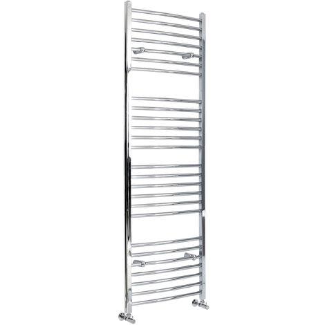 Milano Kent - 1800mm x 600mm Modern Curved Bar Heated Towel Rail Radiator – Chrome