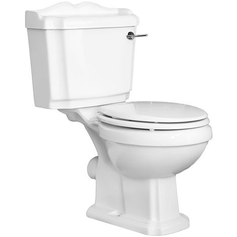 Milano Legend - White Ceramic Traditional Close Coupled Bathroom Toilet Pan WC and Cistern with White Wooden Seat