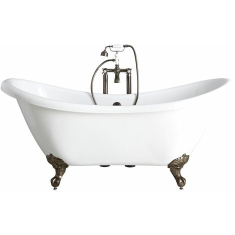 Milano Legend - White Traditional Bathroom Double Ended Freestanding Slipper Bath with Brushed Gold Feet - 1750mm x 730mm