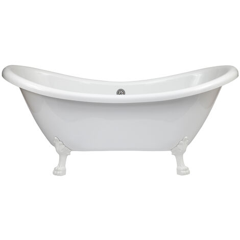 Milano Legend - White Traditional Bathroom Double Ended Freestanding Slipper Bath with Feet - 1750mm x 730mm