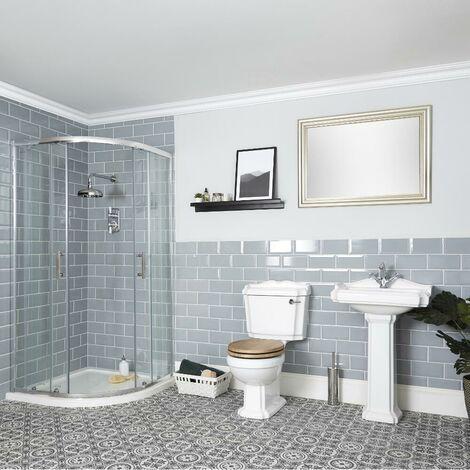 Milano Legend - White Traditional Reversible Quadrant Shower Enclosure Ceramic Close Coupled Toilet WC and Full Pedestal Bathroom Basin Sink