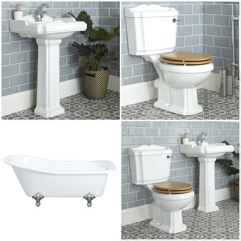 Milano Legend - White Traditional Single Ended Freestanding Slipper Bath  Ceramic Close Coupled Toilet WC and Full Pedestal Bathroom Basin Sink