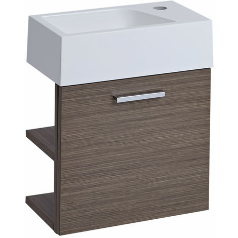 Milano Linley - Oak 400mm Wall Hung Bathroom Cloakroom Vanity Unit with Basin