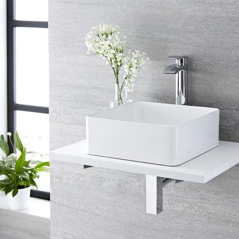 Milano Longton - Modern White Ceramic 360mm Square Countertop Bathroom Basin Sink and High Rise Mono Basin Mixer Tap